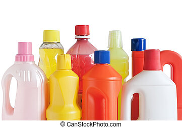 plastic detergent bottles - Colored plastic detergent...