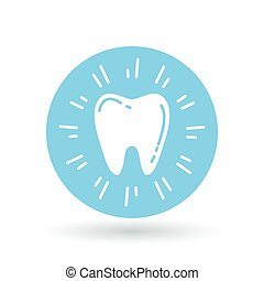 Healthy glowing tooth icon. Sparkling clean tooth sign. Vector illustration.