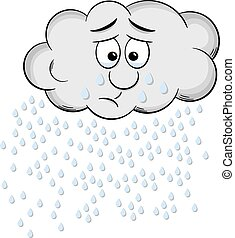 weeping cartoon raincloud isolated on white - vector...