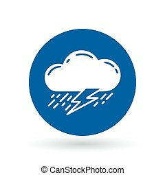 Cloud with rain and lightning thunderstorm icon. Cloud...
