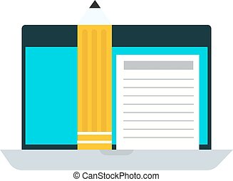E-books computer concept - E-books computer silhouette