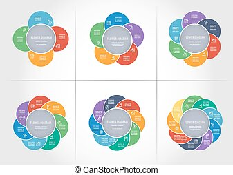 Diagram templates collection - Collection of colorful...