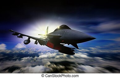 Military jet flying during sunrise with blur motion background