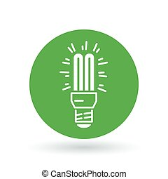 Fluorescent light bulb icon. Compact lightbulb sign. CFL bulb symbol. Vector illustration.