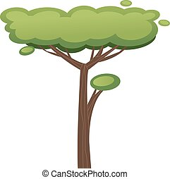 African tree illustration isolated on white background -...