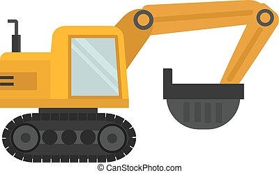 Excavator illustration - Excavator isolated on white...