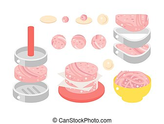 Meat products flat design illustration - Meat products...