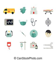 Ambulance reanimation icons isolated on white background....
