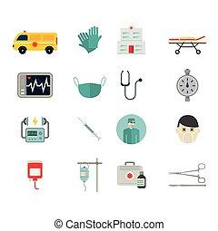 Ambulance reanimation icons isolated on white background....