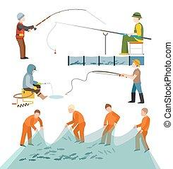 Fishing fishermen people isolated on white background.