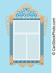 window with architraves, typical of Russian culture - wooden...
