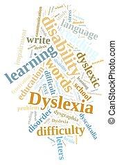 palabra, nube, sobre, Dislexia,