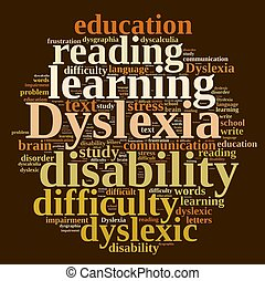 Word cloud about dyslexia - Illustration with word cloud...