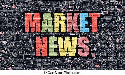 Market News Concept with Doodle Design Icons.