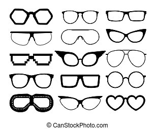 Set of vector glasses on white background, including...