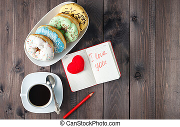 Donuts with coffee and message i love you