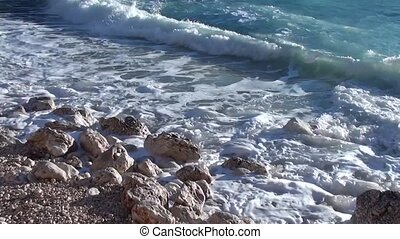 Breaking waves in the sea 1 - Breaking waves beating and...