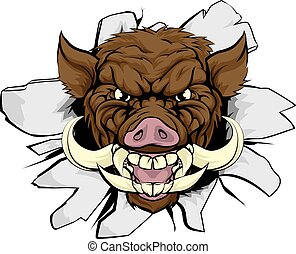 Boar Warthog Sports Mascot - A wild boar or razorback...