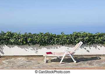 empty swimming pool with ivy on wall and book on chair