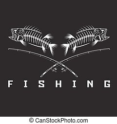 vintage fishing emblem with skeleton of bass