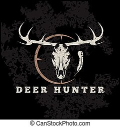 deer skull with target and feather grunge vector design...