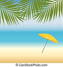 Yellow parasol at the beach under palm trees Vector...