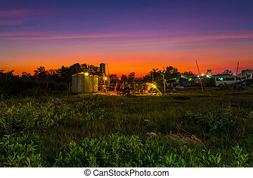 Sunset landscape in Siem Reap suburbs, Cambodia.