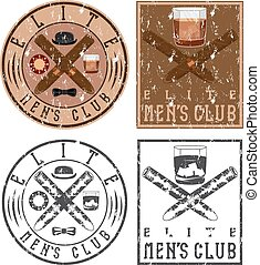 men's club vintage grunge labels with cigars and whiskey...