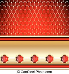 openwork grid - Ornate golden background with ruby and...