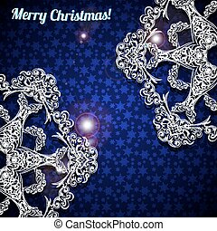 Christmas background with two large snowflakes in the corners.