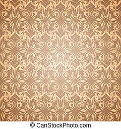 Seamless beige pattern wallpaper in Victorian style.