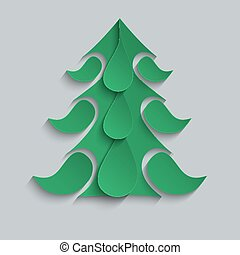 Light Christmas background with paper Christmas tree.