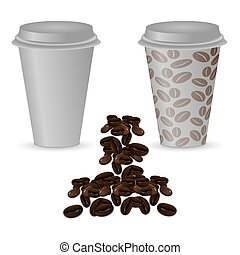 Two plastic cups with coffee: clean and with a picture of coffee beans.