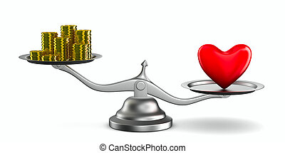 Heart and money on scales Isolated 3D image