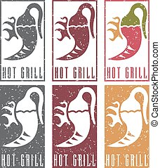 chili pepper with fire grunge vector labels set