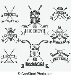 hockey sport club vintage labels set