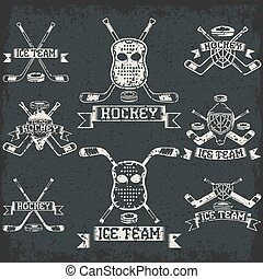 hockey sport club grunge vintage labels set