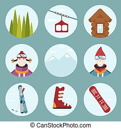 flat design vector icons on ski and snowboard theme