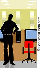 man standing - Illustration of silhouette of a man standing