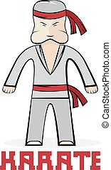cartoon karate young man vector illustration