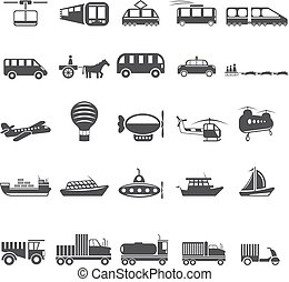 twenty five vector icons of transport theme
