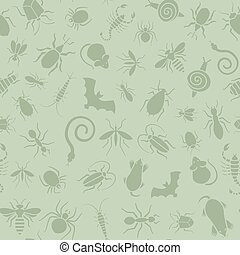 Seamless pattern of icons with insects for pest control...