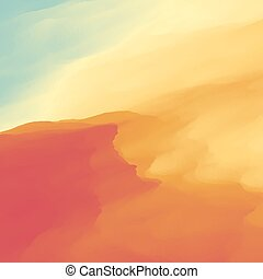 Abstract Desert Landscape Background.  Sand Dune. Desert with Dunes and Mountains. Desert scenery. Illustration of a Scene of a Desert. Desert Landscape. Sandstorm.