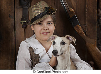Portrait of a little boy with a dog - Portrait of a little...