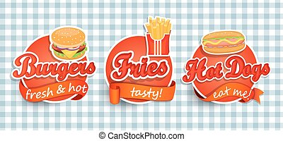 Fast food label. - Fast food Label or Sticer - burgers,...