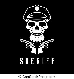 sheriff skull in cap and guns vector design template