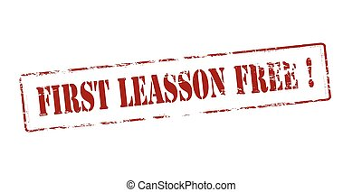 First lesson free - Rubber stamp with text first lesson free...