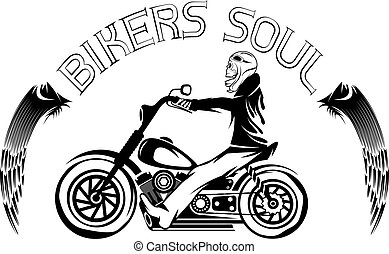 bikers theme label with skeleton on motorbike