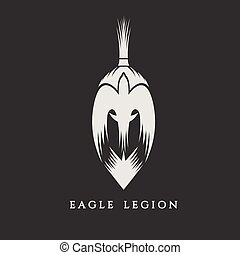 spartan warrior head with eagle vector illustration