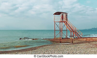 Empty lifeguard tower on the beach - Video 1920x1080 - Empty...